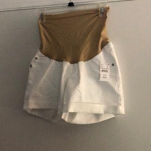 Indigo Blue Maternity White Jean Shorts